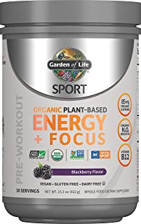 Garden of Life SPORT Organic Plant-Based Energy + Focus Pre Workout Powder, Blackberry Flavor - Clean Preworkout with 85mg...