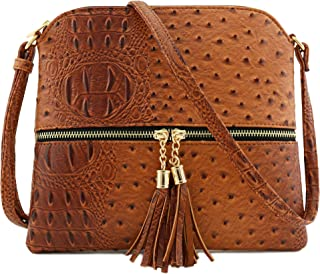 Faux Ostrich Skin Medium Crossbody Bag with Tassel