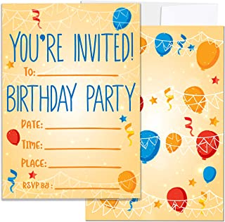 Party Invitations for Boys, Girls, Kids | 25 Invite Cards with Envelopes | Birthday Party Supplies