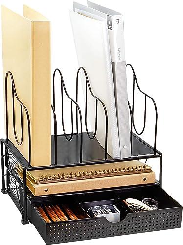 popular CAXXA Desktop Organizer with sale Two Trays, outlet sale Drawer and 5 Upright Sections File Folder Binder Letter Magazine Sorter, Black online