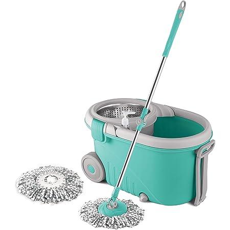 Spotzero by Milton Royale Steel Wringer Spin Mop With Big Wheels (Aqua Green, 2 Refills)