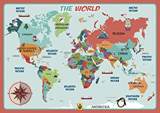 Kids Placemat - UNCLE WU World Map Learning Placemat - Waterproof Placemat