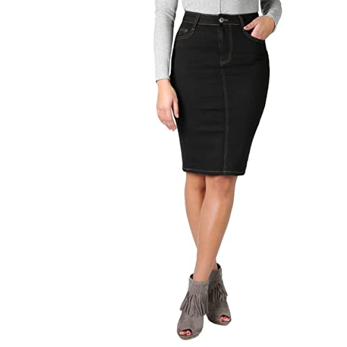 1e40a145659 KRISP® Women Denim Skirt Classic Stretch Pencil A-Line Office Skirts