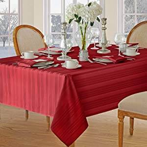 Christmas Satin Stripe No-Iron Soil Resistant Fabric Holiday Tablecloth - 60 X 102 Oblong, Red