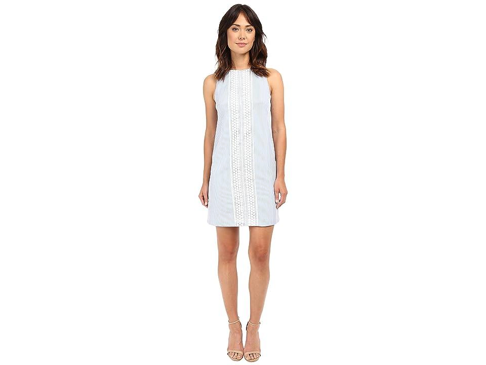 London Times Seersucker Shift Dress w/ Crochet Detail (Blue/White) Women