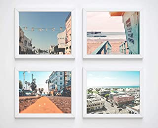 Venice Beach Photography Photographic Prints, Set of 4, Unframed, Lifeguard Stand, Downtown, Aerial Art Decor Poster Sign, 8x10