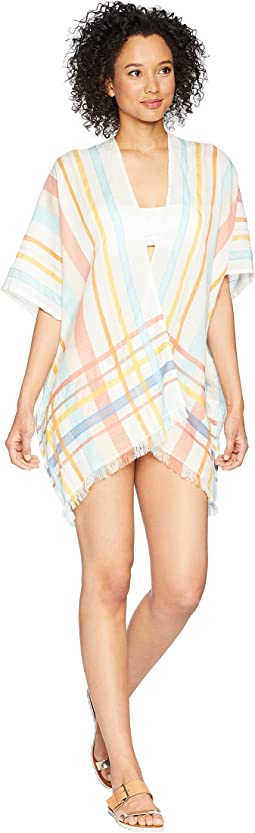 Echo Design Pool Side Plaid Open Cardi