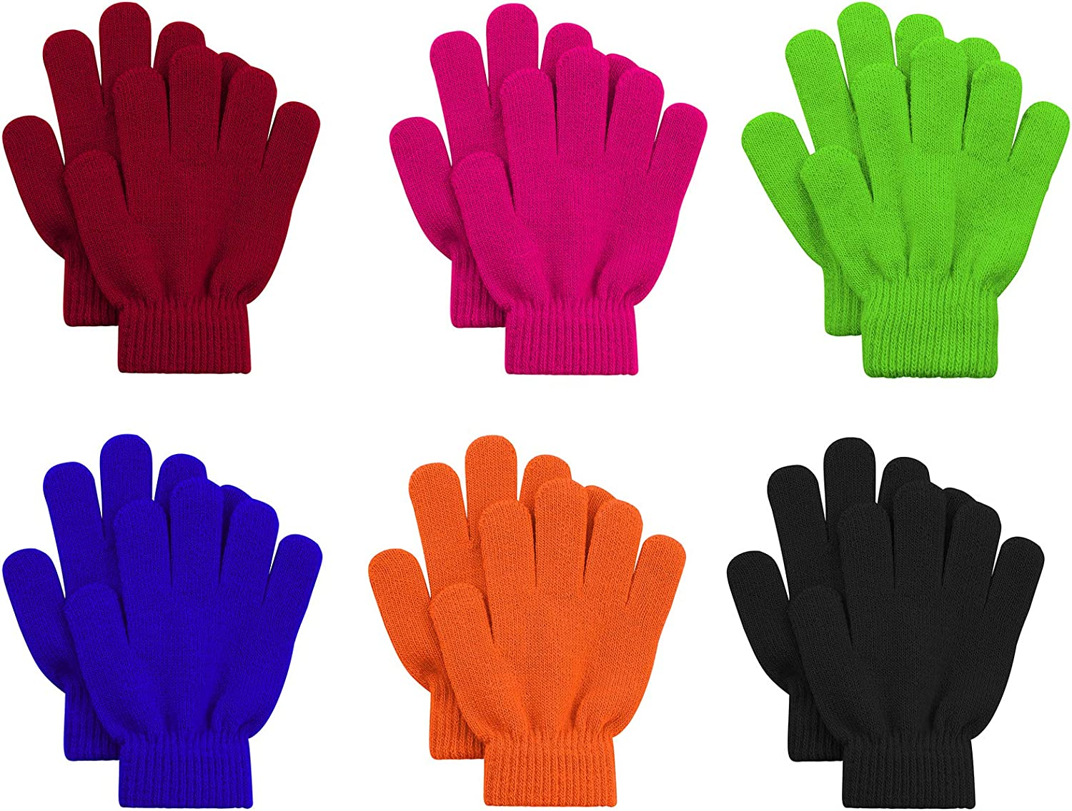6 Pairs Kids Magic Gloves Winter Warm Full Fingers Gloves Soft Knitted Mittens for Baby Boys Girls