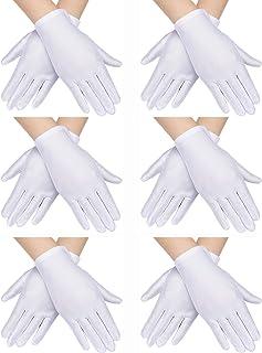 SATINIOR 6 Pairs Child Costume Gloves Spandex Gloves Dress-up Gloves for Kids Halloween Costume Accessories (White)