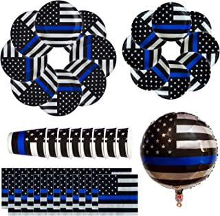 Havercamp Police Thin Blue Line Party Bundle | Dinner & Dessert Plates, Luncheon Napkins, Cups, Mylar Balloon | Great for Law Enforcement Party, Retirement, Veterans Day