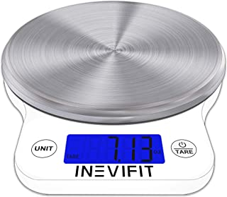 INEVIFIT DIGITAL KITCHEN SCALE, Highly Accurate Multifunction Food Scale 13 lbs 6kgs Max, Clean Modern White with Premium Stainless Steel Finish. Includes Batteries & 5-Year Warranty