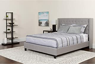 Flash Furniture Riverdale King Size Tufted Upholstered Platform Bed in Light Gray Fabric
