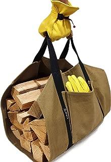 Log Carrier - Canvas firewood Carrier Bag - 20oz Waxed Canvas firewood Tote Bag - Log Bag Carrier (+Gloves)