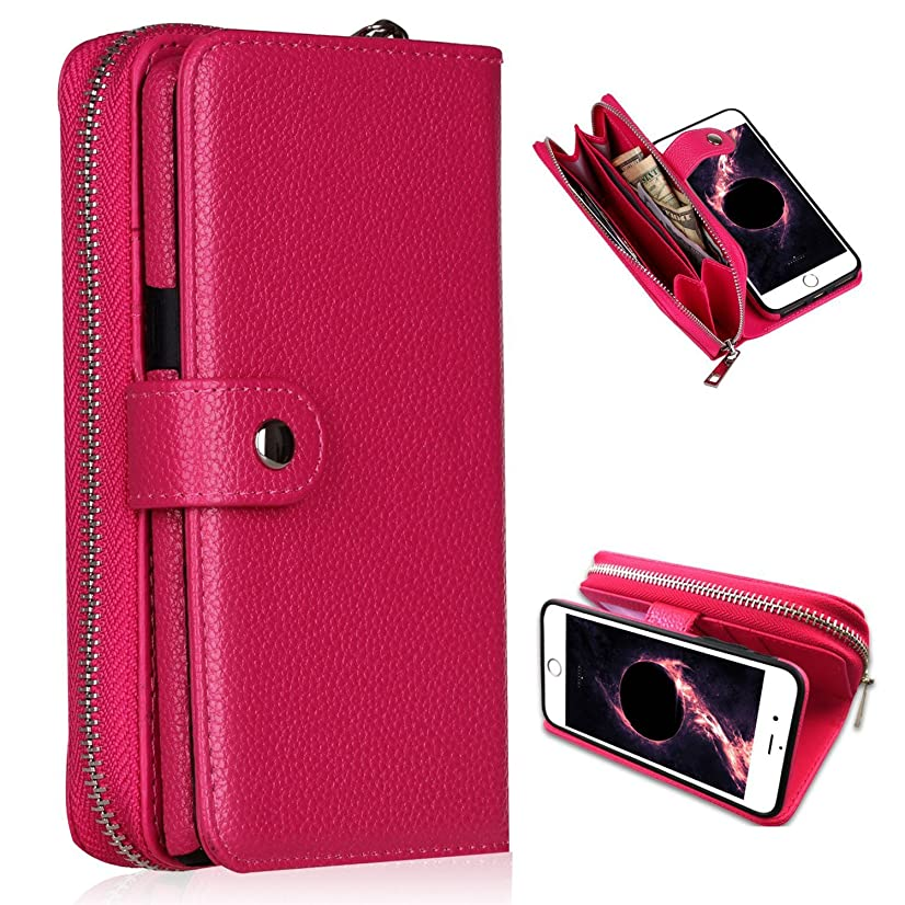 iPhone 6/6s Plus Wallet Case,YSJT Magnets Detachable Credit Card Slots with Zipper Classic Fashionable Cover Flip Premium PU Leather for iPhone 6/6s Plus 5.5 inch (Rose)