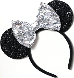 CL GIFT Silver Mickey Ears, Sparkly Mickey Ears, Silver Minnie Ears, Rainbow Ears, Minnie Ears, Rose Gold Mickey