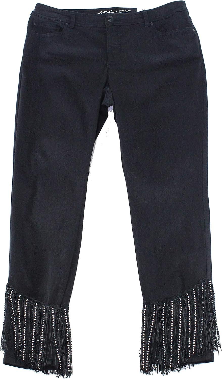 I-N-C Womens Rhinestone Fringe Skinny Fit Jeans