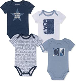 Calvin Klein Baby-Boys 4 Pieces Pack Bodysuits Rompers - Multi