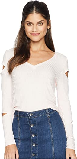 Thermal Vented Long Sleeve V-Neck Shirttail Tee