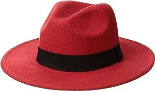 Norboe NE Women's Wide Brim Elegant Luxury Panama Fedora Hat Wool Cap with Strap