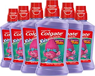 Colgate Kids Anticavity Mouthwash, Trolls, Bubble Fruit for Ages 6 and older - 500 mL, 16.9 fluid ounce (6 Pack)
