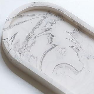 Atelier Ideco - Vide Poche Ovale Décoratif Marbré Noir et Blanc en Jesmonite