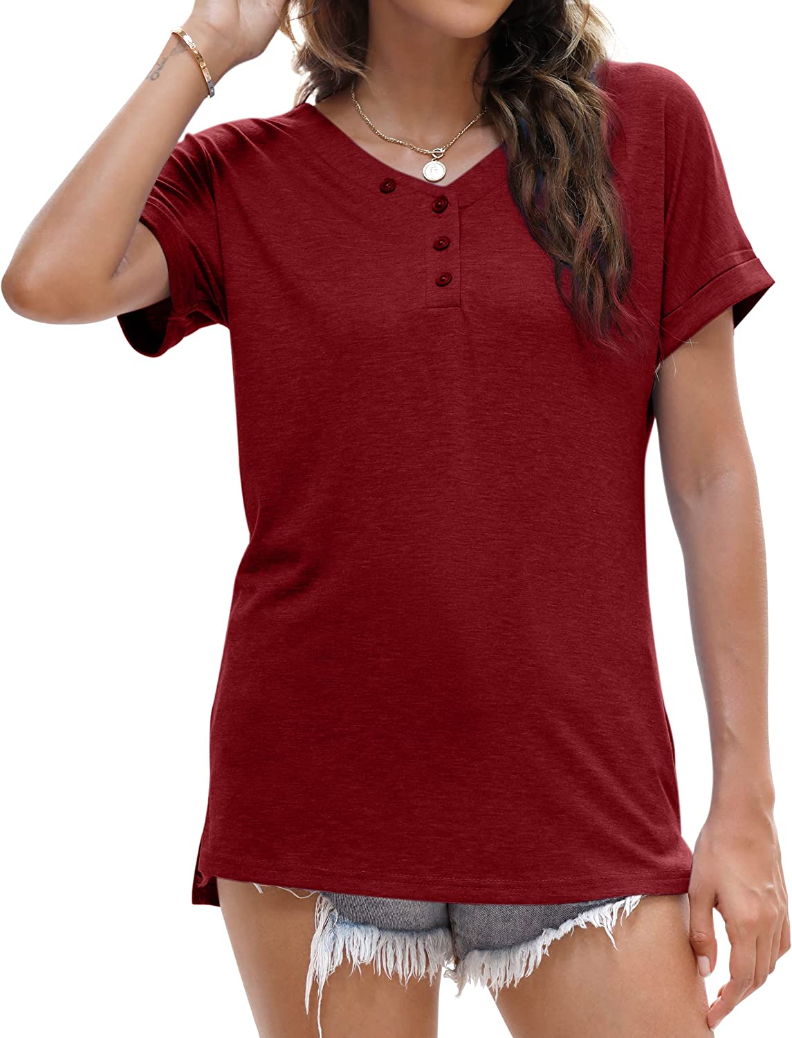 BESFLY Ladies Summer Tops Tunic Tops for Women to Wear with Leggings Short Sleeve Sexy V Neck T Shirt