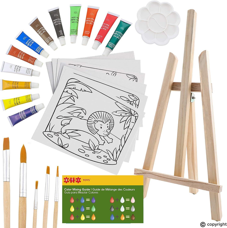 ETI Las Vegas Mall Toys Super intense SALE 26 Piece Kids Art Painting Easel with Set Wood Wild 6