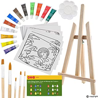 ETI Toys, 26 Piece Kids Art Painting Set with Wood Easel, 6 Wild Animals Themed Canvases, 12 Color Acrylic Paints, 5 Paint Brushes, Palette. Arts Studio for Artist Children Ages 6+ Years Old.