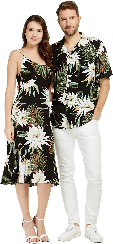Couple Matching Hawaiian Luau Shirt Mermaid Dress Wispy Cereus Black