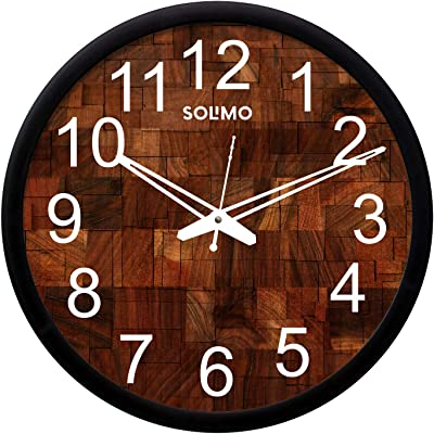 Amazon Brand - Solimo 12-inch Wall Clock - Woode Block (Silent Movement, Black Frame)