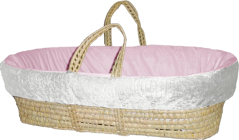 BabyDoll Croco Minky Moses Basket Set, Ivory Pink