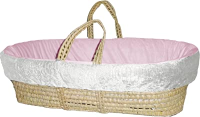 Baby Doll Bedding Croco Minky Moses Basket, Ivory/Pink