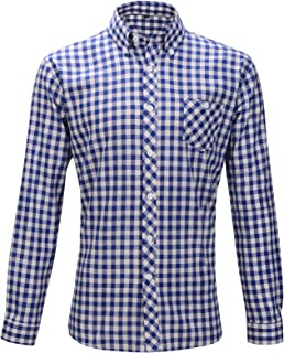 Oktoberfest 2017 Camisa Slimfit Hombre Traje Camisa Algodón M/L Cuadros Rojo + Azul/Blanco