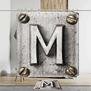 YOLIYANA Letter M Secure Shower Curtain Set with Rug,Zinc Iron Steel Alphabet Typeset with Grunge Scratched Texture Industrial Image Decorative,72''Wx79''H Shower Curtain+20''Wx31''L Rug