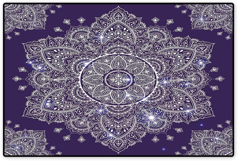 Ethnic Door Mat Indoors Ethnic Floral Ornament Tribal Spring Round Mandala Paisley Inspired Retro Floor Mat Pattern 32 x48  Purple White