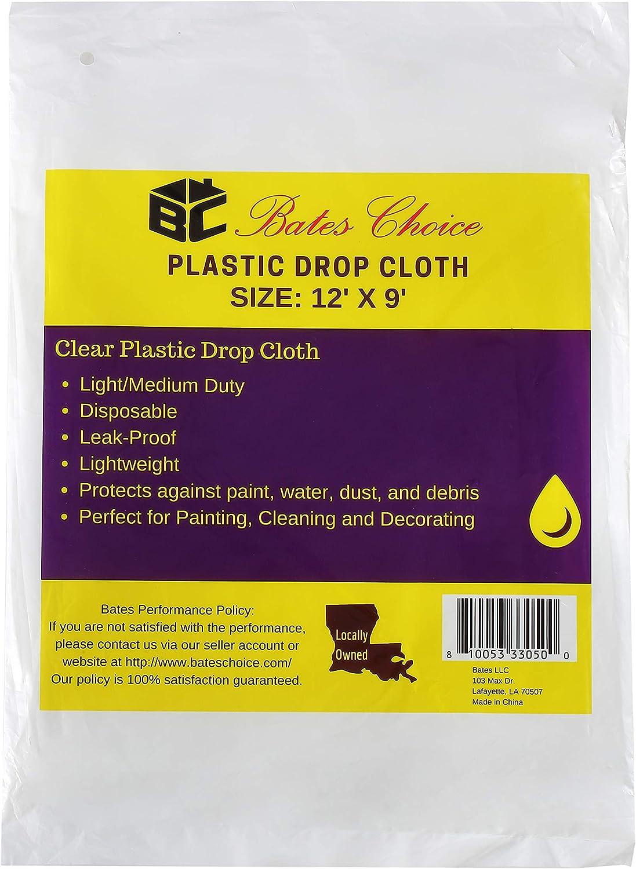 Bates- Plastic Drop Cloth, Drop Cloth 9x12, Plastic Cover, Clear Plastic Tarp, Plastic Tarp for Painting, Plastic Sheeting for Painting, Plastic Drop Cloths for Painting, Paint Plastic Drop Cloth