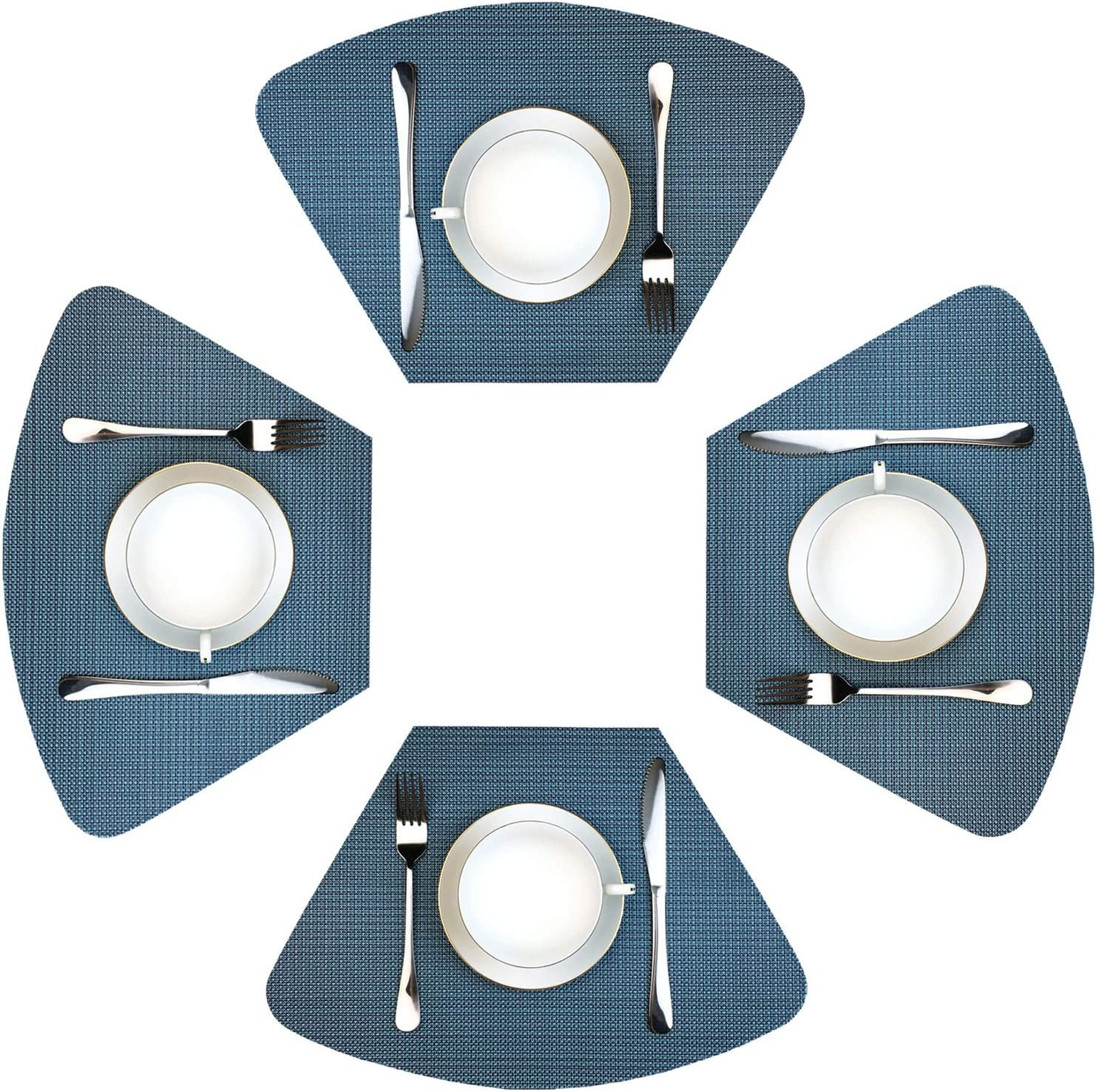 WAZAIGUR Wedge Placemats for Round Table Set of 9 Woven Vinyl Washable  Placemat for Dining Table Heat Resistant Durablity Table Mats,Blue