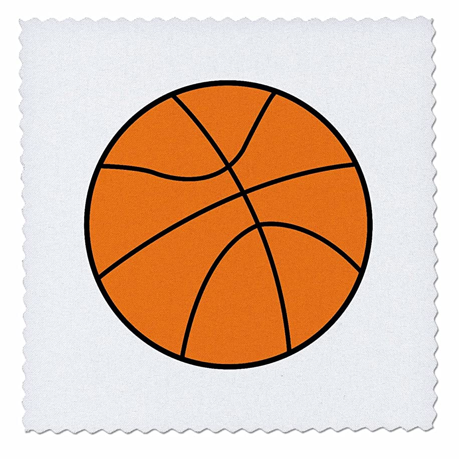 3dRose Simple Basketball Vector Sports Design Quilt Square, 12 by 12