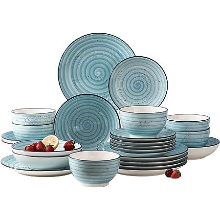 vancasso 12pcs Stoneware Vintage Dinner Set Ceramic Dinner Dessert Plate Bowls