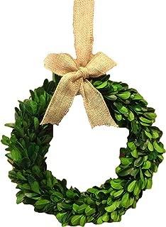 Flora Decor Preserved Boxwood Wreath W/Burlap Bow - 8