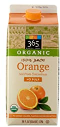 365 Everyday Value, Organic 100% Orange Juice Not From Concentrate, No Pulp, 59 fl oz
