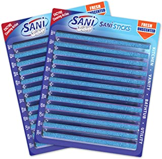 Sani Sticks Drain Cleaner & Deodorizer   Non-Toxic, Enzyme Formula to Eliminate Odors & Helps Prevent Clogged Drains   Septic Tank Safe   24 Pack, Unscented