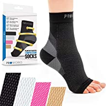Proworks Plantar Fasciitis Compression Socks (Pair), Night Splint Alternative & Open-Toe Foot Sleeve for Targeted All-Day Heel, Sole & Ankle Pain Relief, Recovery & Protection - 2 Sizes and 4 Colours