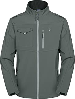 Men's Fleece Lined Softshell Jacket, Lightweight Tactical Jacket, Water Repellent, Breathable