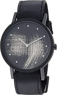 South Lane Swiss Quartz Stainless Steel and Leather Casual Watch, Color:Black (Model: core-SL-38)