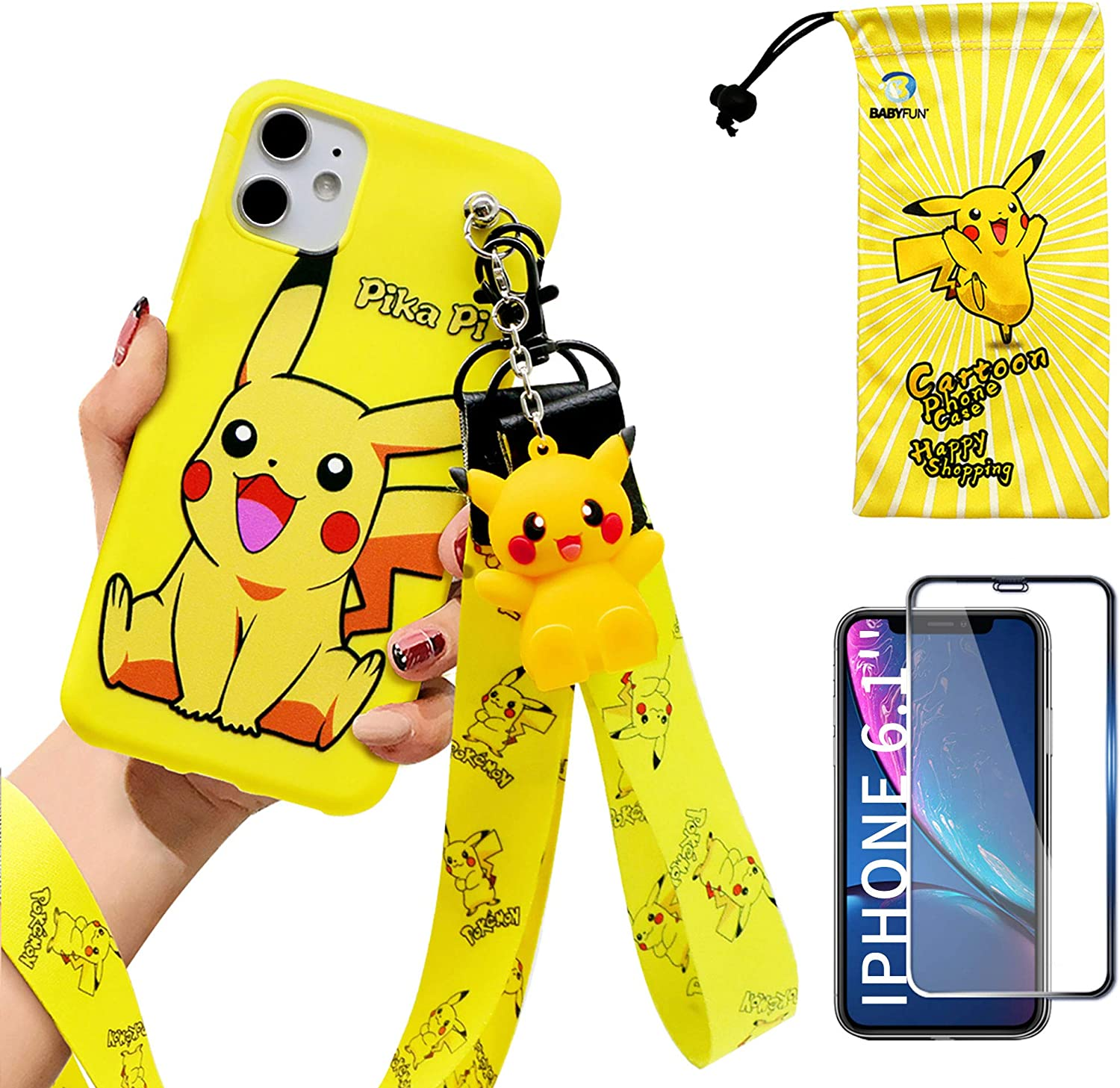 Compatible with iPhone 12 Case with HD Screen Protector, 2 Lanyard, 1 Cell Phone Stand, 1 Phone Storage Bag, Kawaii Pikachu Cartoon 3D Character Silicone Cover for iPhone 12 6.1