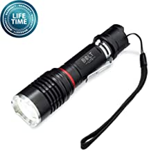 Tactical Flashlight Rechargeable Battery Zoomable Super Bright 1000 Lumens CREE LED- Includes Battery, Case, Charger, Camping light, Emergency Light