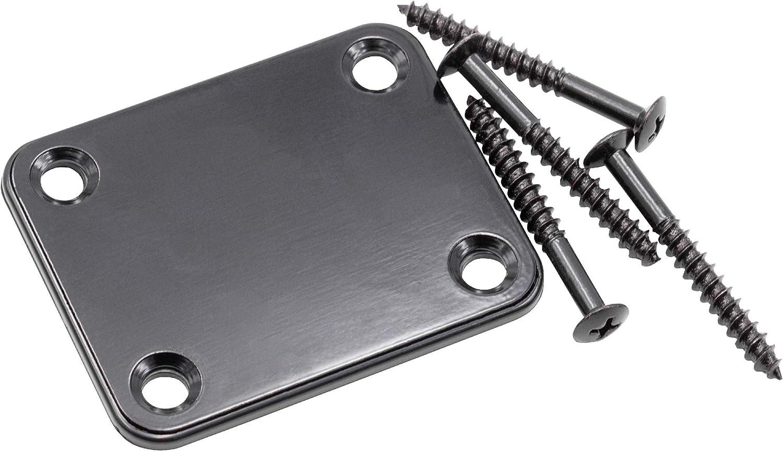 vhbw Placa cuello, accesorios para guitarras eléctricas compatible con Fender Stratocaster - metal cromado, negro