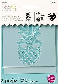 Fabric Creations 26411 Adhesive Pineapple-Cherry-Diamond Stencil, 3