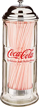 TableCraft Coca-Cola CC339N Salt and Pepper Shaker Set with Chrome Plated Metal Rack Straw Dispenser Small Silver